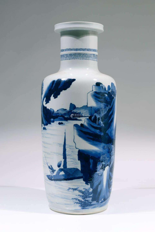 青花山水人物纹棒槌瓶