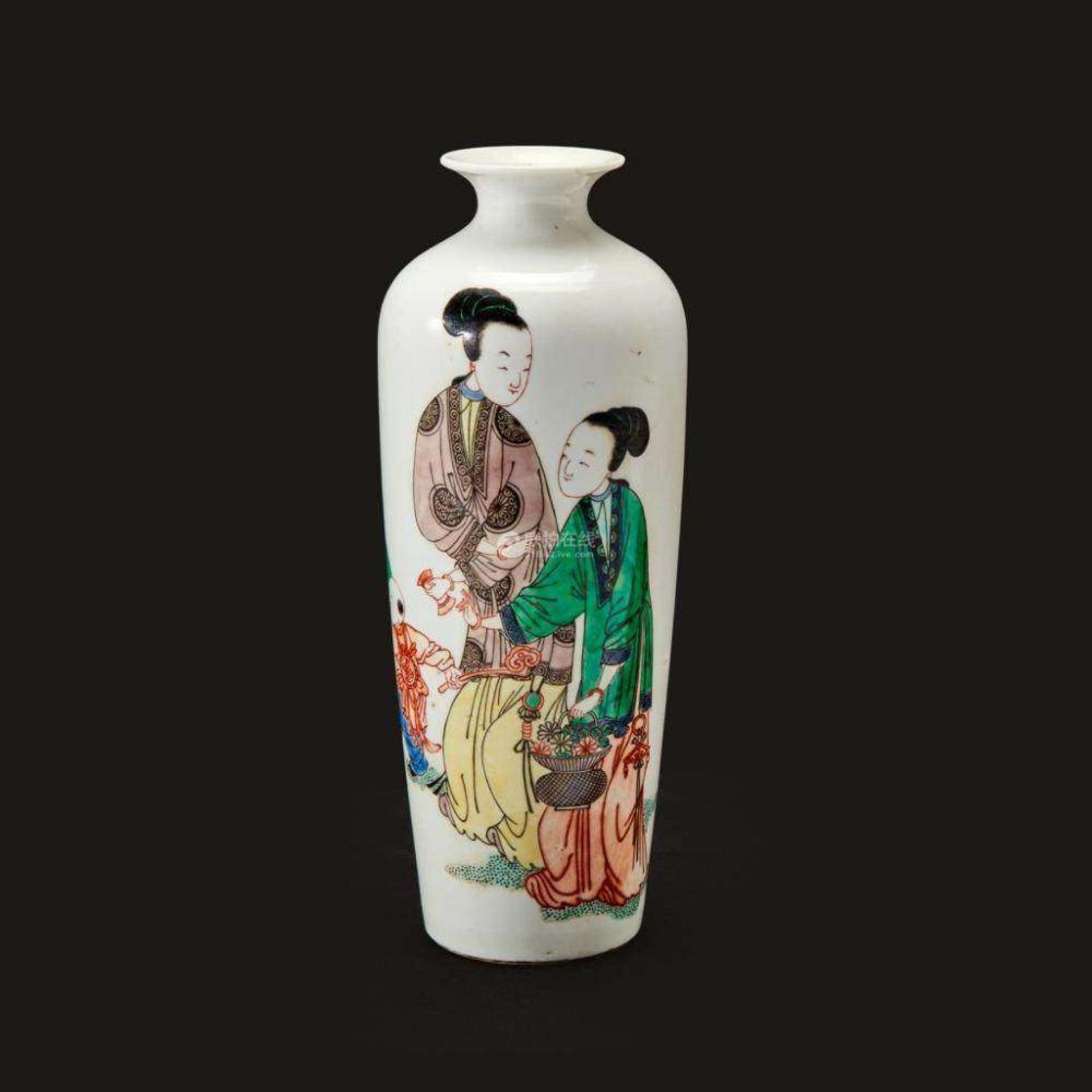 五彩人物仕女纹瓶
