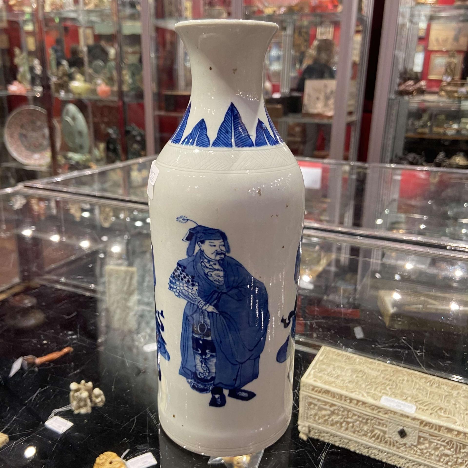 青花人物纹筒瓶
